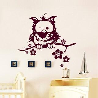 Winking Owl Nursery Vinyl Sticker Art