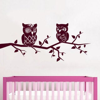 Burgundy Owls Nursery Vinyl Sticker Wall Art