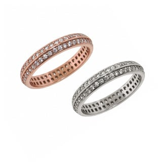 Eternally Haute Sterling Silver Pave Cubic Zirconia Double Row Eternity Band