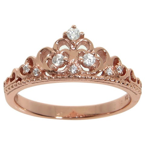 Eternally Haute Sterling Silver Pave Cubic Zirconia Princess Kate Crown Ring