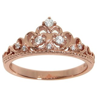 Eternally Haute Sterling Silver Pave Cubic Zirconia Princess Kate Crown Ring (More options available)