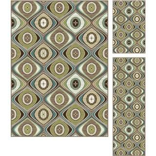 Alise Decora Beige Geometric Area Rug 3 Piece Set