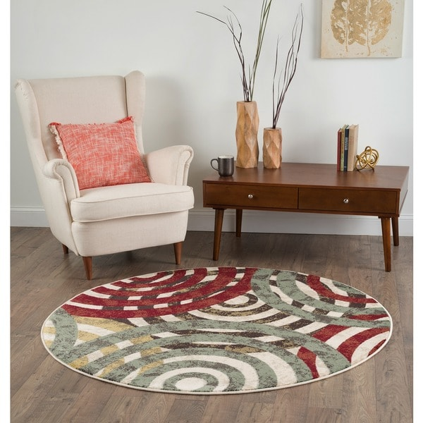 Alise Decora Multi Geometric Area Rug (5' 3 Round)