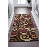 Alise Rugs Flora Contemporary Scroll Runner Rug - multi - 2'7 x 7'3