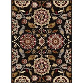 Alise Infinity Black Floral Area Rug (7'10 x 10'3)