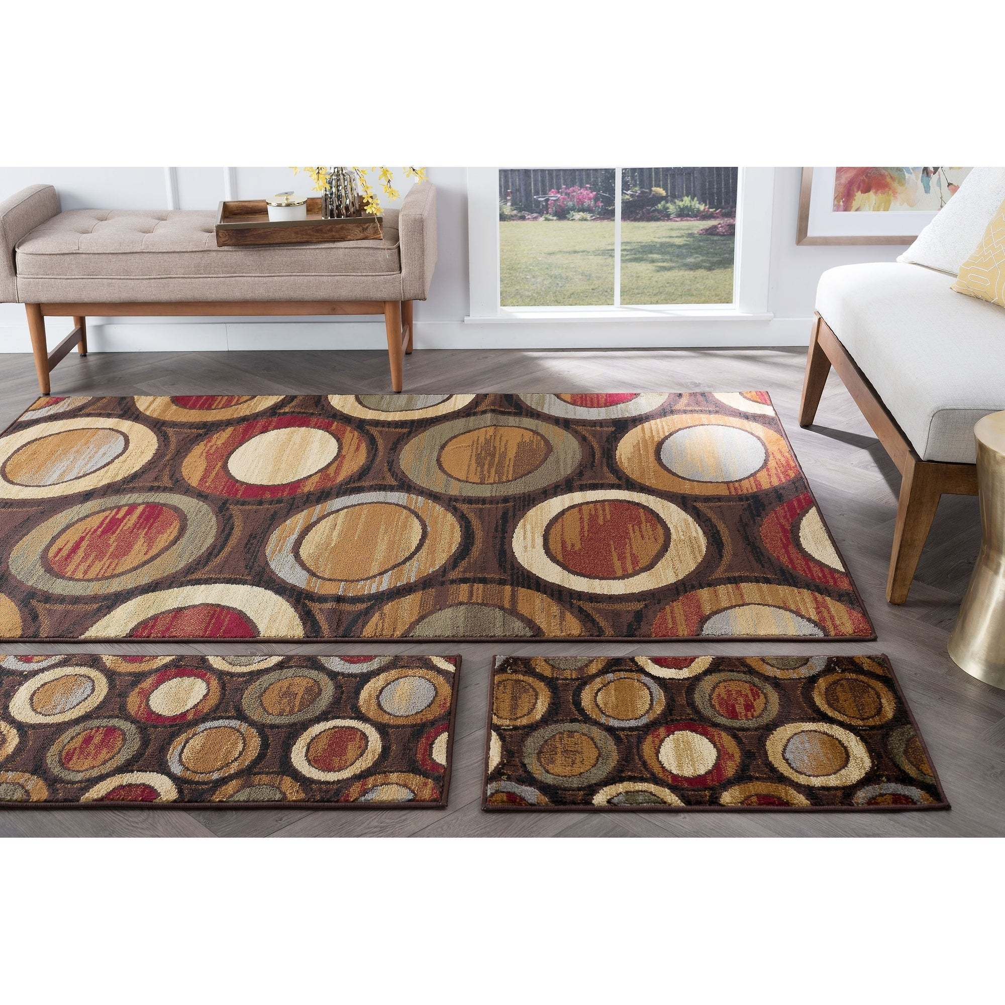 Alise Rugs Rhythm Contemporary Geometric Three Piece Set - multi - 5 x 7 (5 x 7 - Moderate Traffic)
