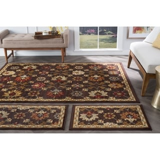 Alise Rhythm Floral Brown Area Rugs (Set of 3)