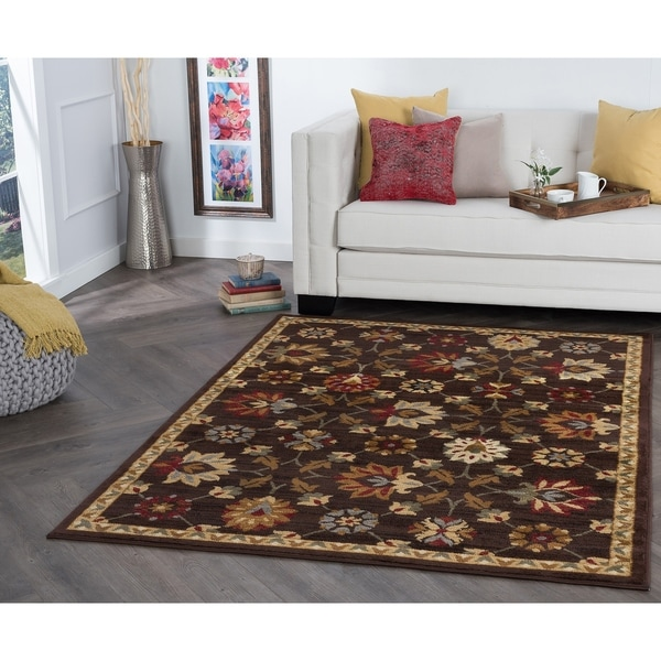 Alise Rhythm Floral Brown Area Rug - 5' x 7'