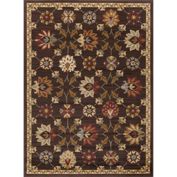 Alise Rhythm Floral Brown Area Rug (5' x 7')