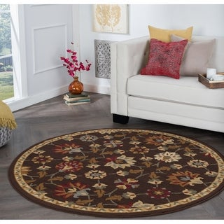 Alise Rhythm Floral Brown Area Rug (7'10 Round)