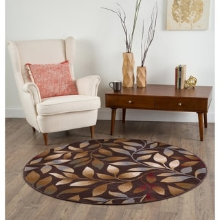 Alise Rhythm Brown Floral Area Rug (7'10 Round)