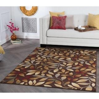 Alise Rhythm Brown Floral Area Rug (7'6 x 9'10)