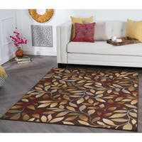 Alise Rhythm Brown Floral Area Rug - 9'3 x 12'6