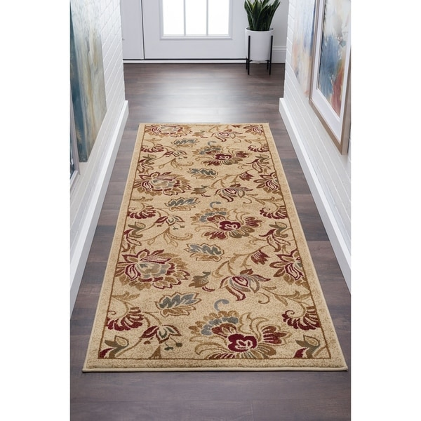 Alise Flora Ivory and Brown Floral Runner - 2'3 x 7'3