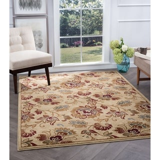 Alise Flora Ivory and Brown Floral Area Rug (5'3 x 7'3)