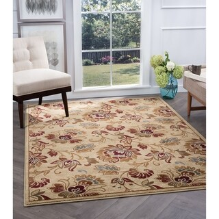Alise Flora Ivory and Brown Floral Area Rug - 5'3 x 7'3