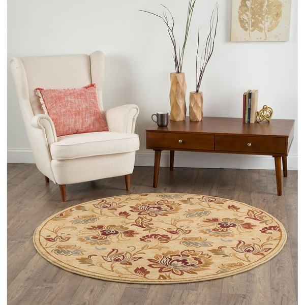 Alise Flora Ivory And Brown Floral Area Rug 5 3 Round
