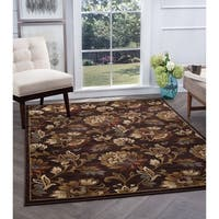 Alise Flora Ivory and Brown Floral Area Rug - 7'10 x 10'3