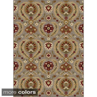 Alise Infinity Blue and Brown Floral Area Rug (5'3 x 7'3)