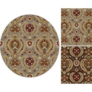 Alise Infinity Blue and Brown Floral Area Rug (5'3 Round)