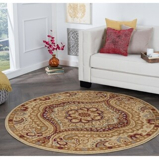 Alise Rhythm Ivory and Black Paisley Area Rug (5'3 Round)