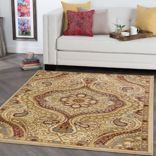 Alise Rhythm Ivory and Black Paisley Area Rug (7'6 x 9'10)