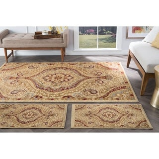 Alise Rhythm Ivory And Black Paisley Area Rugs (Set Of 3)