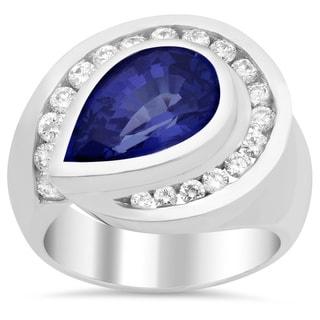 14k White Gold 1ct TDW Diamond and Pear-cut Tanzanite Ring (E-F, VS1-VS2)
