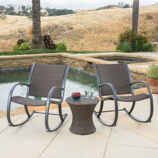 Gracieu0027s Outdoor 3 Piece Wicker Bistro Set By Christopher Knight Home