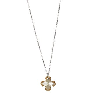 Decadence Sterling Silver Austrian Crystal Clover Cross Necklace