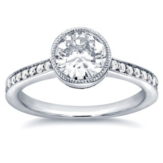 Annello by Kobelli 14k White Gold Round-cut Moissanite and 1/4ct TDW Diamond Bezel Engagement Ring