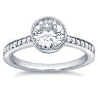 Annello by Kobelli 14k White Gold 1 1/4ct TGW Bezel Moissanite and Diamond Simplicity Engagement Ring