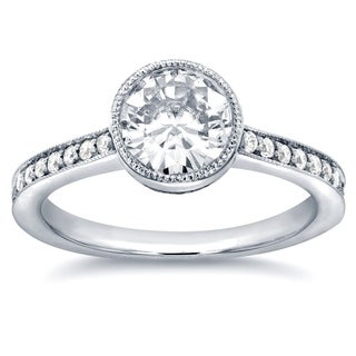 Annello by Kobelli 14k White Gold 1 1/4ct TGW Bezel Moissanite (HI) and Diamond Simplicity Engagement Ring