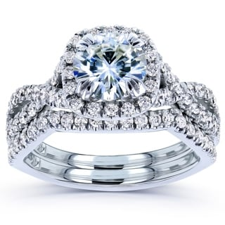 Link to Annello by Kobelli 14k White Gold 1 3/4ct TGW Round Moissanite and Diamond Crisscross Bridal Rings Set Similar Items in Rings