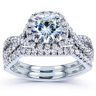 Annello by Kobelli 14k White Gold Moissanite and 3/4ct TDW Diamond Bridal Rings Set (G-H,