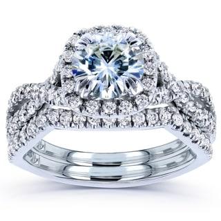 Annello 14k White Gold Moissanite and 3/4ct TDW Diamond Bridal Rings Set (G-H, I1-I2)