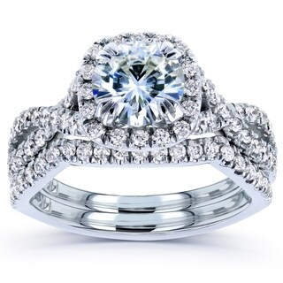 Annello by Kobelli 14k White Gold 1 3/4ct TGW Round Moissanite and Diamond Crisscross Bridal Rings Set