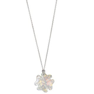 Decadence Sterling Silver Austrian Crystal Clover Necklace