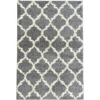 Ottomanson Ultimate Collection Moroccan Trellis Design Shag Area Rug (53 x 7 - Grey/Ivory)