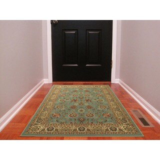 Ottomanson Ottohome Collection Persian Style Sage Green/ Aqua Blue Area Rug with Non-skid Rubber Backing (3' x 5')
