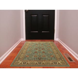 Ottomanson Ottohome Collection Persian Style Sage Green Aqua Blue Area Rug With Non Skid