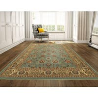 Ottomanson Ottohome Persian Style Sage Green/ Aqua Blue Rugs with Non-skid Rubber Backing Area Rug (8'2 x 9'10) - 8'2 x 9'10