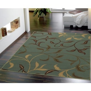 Ottomanson Ottohome Contemporary Leaves Design Modern Sage Green/ Aqua Blue Area Rug with Non-skid Rubber Backing (5' x 7')