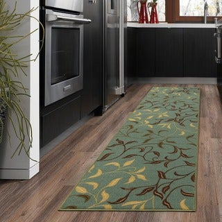Ottomanson Ottohome Collection Sage Green/ Aqua Blue contemporary Leaves Design Modern Area Rug (1'8 x 4'11)