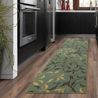 Ottomanson Ottohome Collection Sage Green/ Aqua Blue Leaves Design Modern Runner Rug with Non-slip Rubber Backing (1'8 x 4'11)