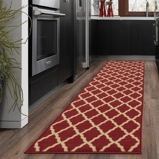 Ottomanson Ottohome Collection Color Contemporary Morrocon Trellis Design Runner Rug with Non-slip Rubber Backing (1'8 x 4'11)