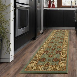Ottomanson Ottohome Collection Persian Style Sage Green/ Aqua Blue Runner Rug with Non-skid Rubber Backing (2' x 7')