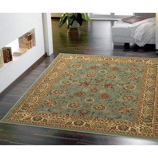 Ottomanson Ottohome Persian Style Oriental Sage Green/ Aqua Blue Area Rug with Non-skid Rubber Backing (5' x 7')