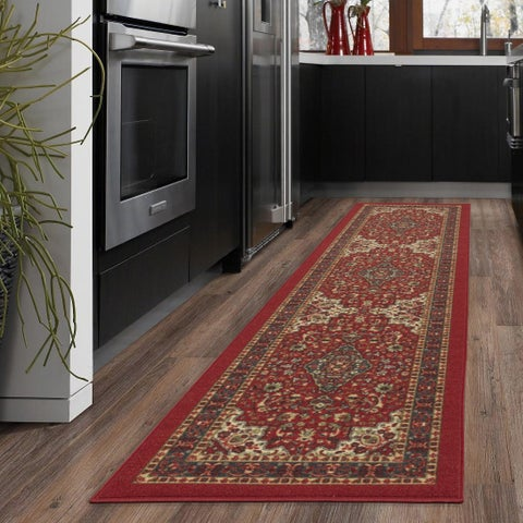 Ottomanson Ottohome Persian Heriz Oriental Design Runner Rug with Non-skid Rubber Backing (2' x 7') - 2' x 7'