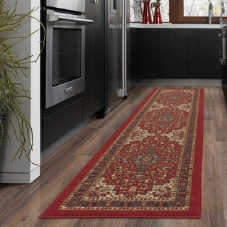 Ottomanson Ottohome Collection Persian Heriz Oriental Design Red Runner Rug (1'10 x 7')